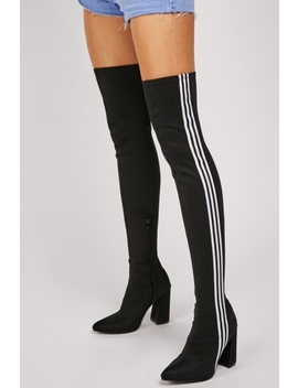 Striped Side Thigh High Boots by Everything5 Pounds