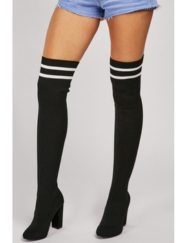 Knee High Ribbed Sock Overlay Boots by Everything5 Pounds
