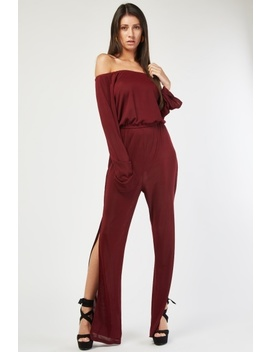 Ribbed Off Shoulder Jumpsuit by Everything5 Pounds