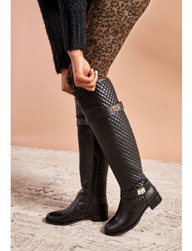 Keswick Quilted Buckle Riding Boot by Justfab