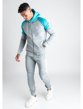 Gk Core Plus Poly Contrast Tracksuit Top   Stone Grey/Aqua by The Gym King