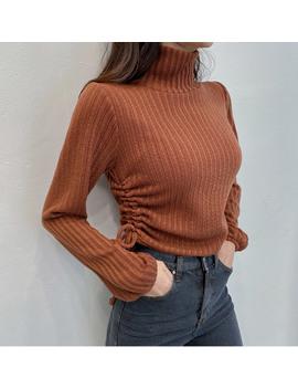 side-shirring-high-neck-knit-top by chuu