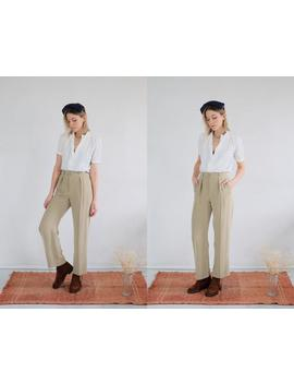 ecru-silk-trousers-26-x-30-__-vintage-high-waist-beige-silky-trousers-neutral-womens-tapered-thin-feminine-silky-pocket-pleated-taupe by etsy