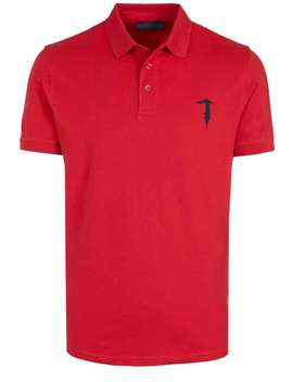 Trussardi Polo Shirt Red With Stretch by Trussardi