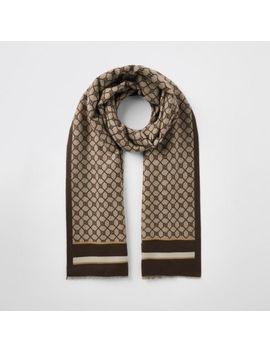 beige-ri-monogram-jacquard-scarf by river-island