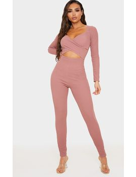 mauve-rib-cross-over-long-sleeve-jumpsuit by prettylittlething