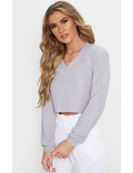 grey-rib-plunge-long-sleeve-top by prettylittlething