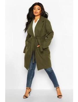 plus-heavy-wool-look-wrap-duster-coat by boohoo