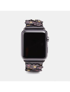 apple-watch-strap-with-tea-rose-applique by coach