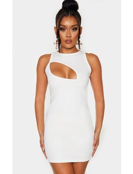 white-twill-crew-neck-cut-out-bodycon-dress by prettylittlething
