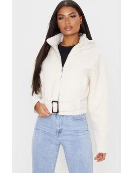 cream-borg-hooded-belt-detail-jacket by prettylittlething