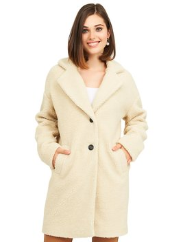 2 Button Long Teddy Coat by Suzy Shier