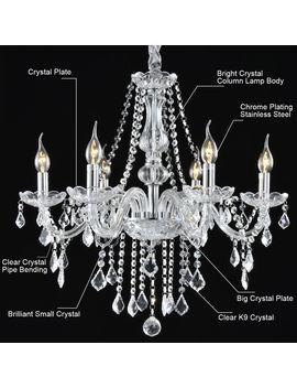 costway-elegant-crystal-chandelier-modern-6-ceiling-light-lamp-pendant-fixture-lighting by costway
