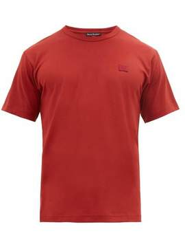 nash-face-logo-applique-cotton-t-shirt---mens---red by nash-face-logo-applique-cotton-t-shirt---mens---red