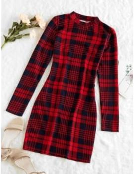 --hot-zaful-plaid-houndstooth-bodycon-mini-dress---cherry-red-l by zaful