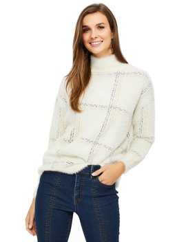 Long Sleeve Windowpane Fluffy Sweater by Suzy Shier