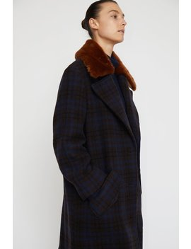 No.6 Edgar Coat In Espresso / Navy Plaid Wool by No.6 Clothing