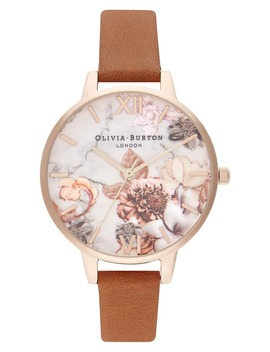 marble-florals-leather-strap-watch,-34mm by olivia-burton