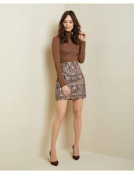 Metallic Jacquard High Waist Short Skirt by Rw & Co
