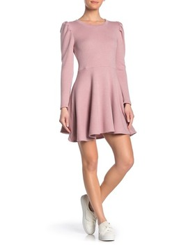 long-sleeve-puff-shoulder-skater-dress by trinity-moon