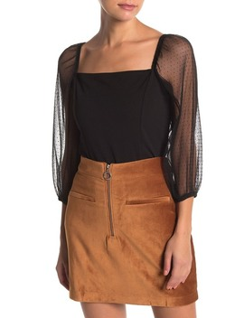 dot-pleated-tulle-3_4-sleeve-crop-top by socialite