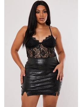 plus-size-black-croc-faux-leather-mini-skirt by missguided