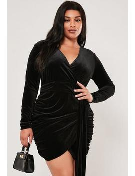 plus-size-black-velvet-ruched-wrap-mini-dress by missguided