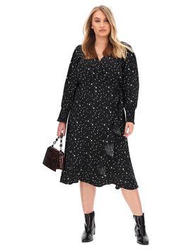 star-print-wrap-midi-dress by simply-be