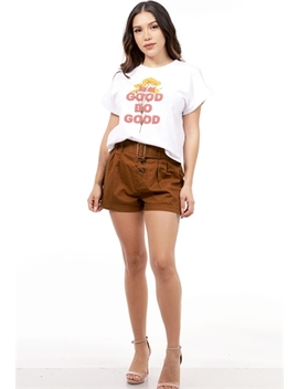Belted Button Detail Shorts by Papaya