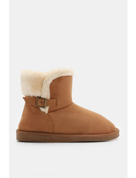faux-suede-boots-with-buckle by ardene