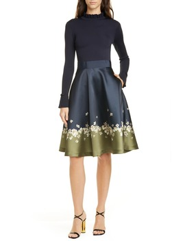 pearl-mixed-media-long-sleeve-fit-&-flare-dress by ted-baker-london