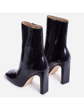 Klass Square Toe Thin Block Heel Ankle Boot In Black Croc Print Faux Leather by Ego