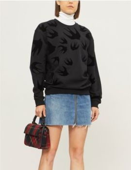 swallow-flocked-cotton-jersey-sweatshirt by mcq-alexander-mcqueen