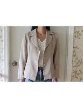 vintage-80s-taupe-beige-slightly-oversize-button-front-blazer,-overcoat,-jacket by etsy