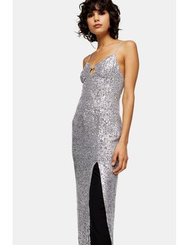 silver-sequin-keyhole-midi-dress by topshop