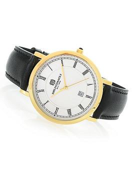 Bruno Magli 41mm Milano Swiss Quartz Leather Strap Watch by Shop Hq