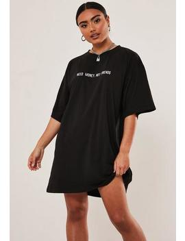 black-embroidered-slogan-oversized-t-shirt-dress by missguided