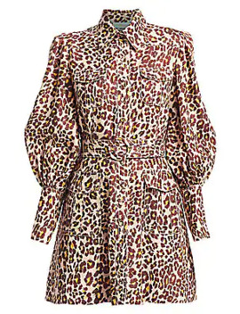 espionage-leopard-linen-puff-sleeve-shirtdress by zimmermann