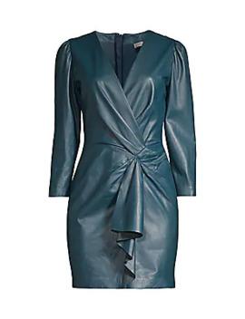 long-sleeve-vegan-leather-drape-sheath-dress by rebecca-taylor