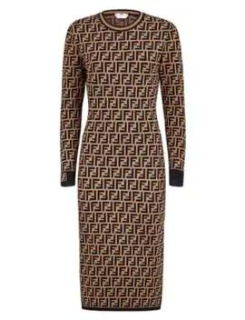 ff-logo-jacquard-sweater-dress by fendi