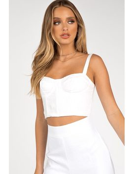 Pia White Linen Cupped Crop Top by Dissh