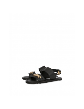 Leather Sandals With Lettering Logo by Moschino