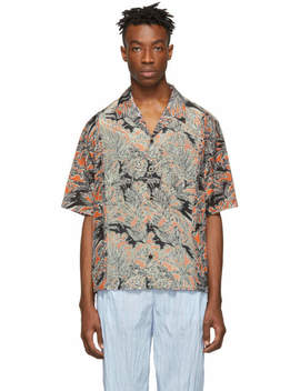 Orange And Black Palm Tree Floral Souvenir Short Sleeve Shirt by Orange And Black Palm Tree Floral Souvenir Short Sleeve Shirt