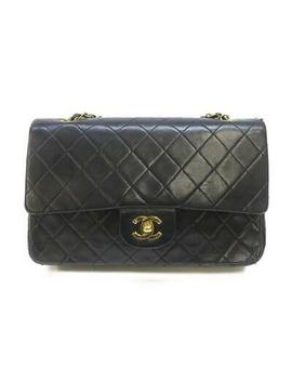 chanel-matelasse-w-flap-chain-shoulder-bag-lamb-leather-black-bordeaux-ghw-used by chanel