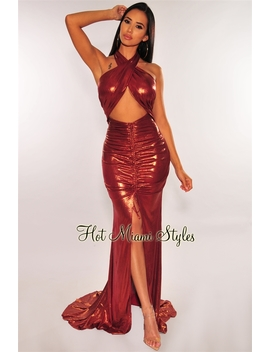 Wine Bronze Shimmer Criss Cross Halter Ruched Slit Mermaid Gown by Hot Miami Style