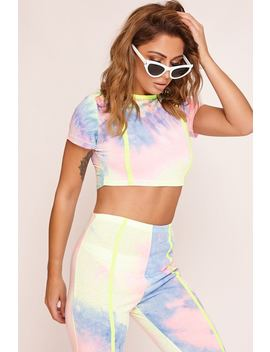 Blue Tie Dye Crop T Shirt by Katch Me