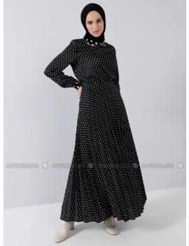 Black   Polka Dot   Unlined   Skirt by Modanisa