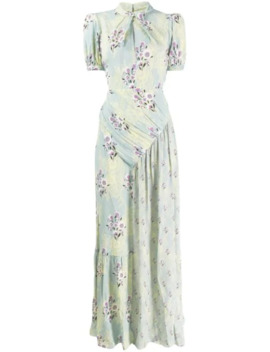 floral-print-ruched-detail-maxi-dress by self-portrait
