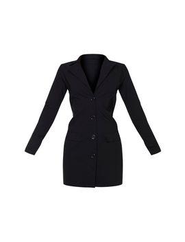 black-stretch-pocket-detail-blazer-dress by prettylittlething
