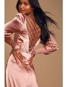 elegant-occasion-mauve-pink-satin-backless-midi-dress by lulus